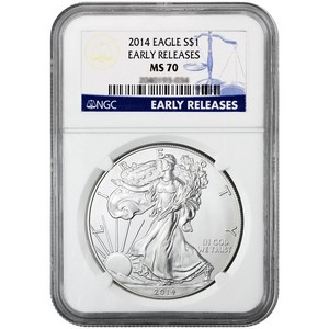 2014 Silver American Eagle MS70 ER NGC Blue Label