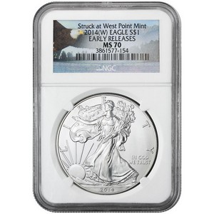 2014 W Silver American Eagle Struck at West Point MS70 ER NGC Bald Eagle Label