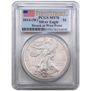 2014 W Silver American Eagle Struck at West Point MS70 FS PCGS Flag Label