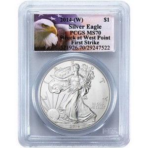 2014 W Silver American Eagle Struck at West Point MS70 FS PCGS Eagle Label