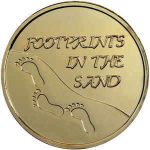 Footprints 1oz .999 Silver Medallion Gold Plated