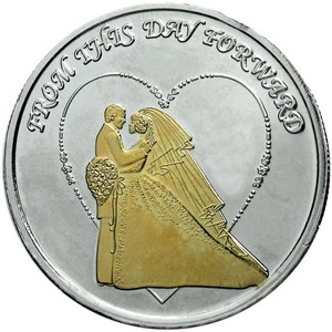 Wedding Couple 1oz .999 Silver Medallion Gold Plated