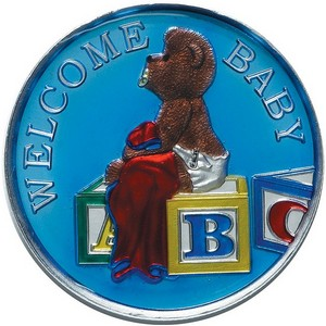 Welcome Baby 1oz .999 Silver Medallion Enameled Blue