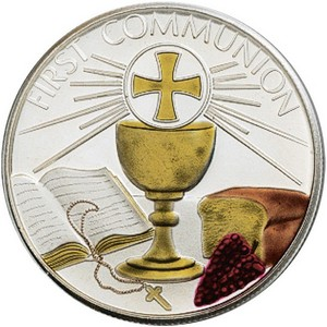 First Communion 1oz .999 Silver Medallion Enameled