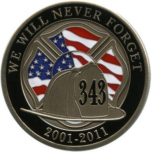 We Will Never Forget 911 Nickel Silver Medallion Enameled