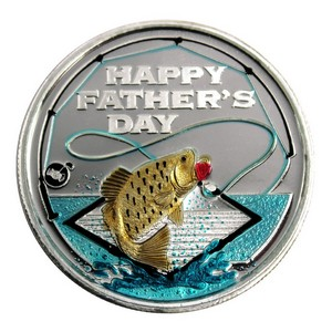 Fathers Day Fishing 1oz .999 Silver Medallion Enameled