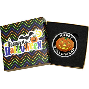 Happy Halloween Pumpkin 1oz .999 Silver Medallion Enameled