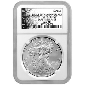 2011 W Silver American Eagle 25th Anniversary MS70 Burnished ER NGC ALS Label