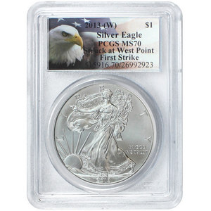 2013 W Silver American Eagle Struck at West Point MS70 FS PCGS Eagle Label
