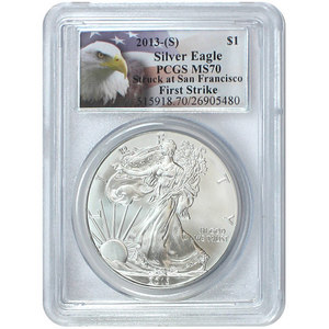 2013 S Silver American Eagle Struck at San Francisco MS70 FS PCGS Eagle Label