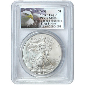2013 S Silver American Eagle Struck at San Francisco MS69 FS PCGS Eagle Label