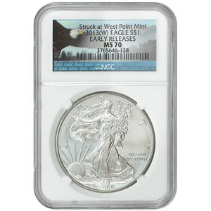 2013 W Silver American Eagle Struck at West Point MS70 ER NGC Bald Eagle Label