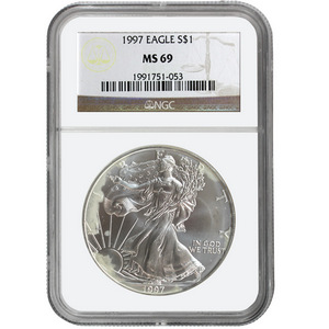 Date Our Choice Spotted Silver American Eagle MS69 NGC Brown Label
