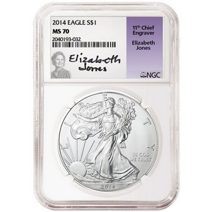 2014 Silver American Eagle MS70 NGC Elizabeth Jones Label