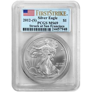 2012 S Silver American Eagle Struck at San Francisco Mint MS69 FS PCGS