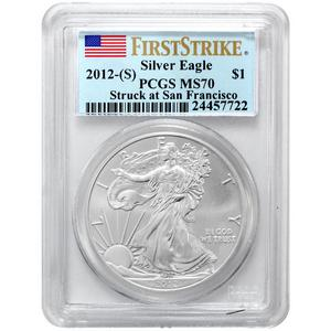 2012 S Silver American Eagle Struck at San Francisco Mint MS70 FS PCGS Flag Label