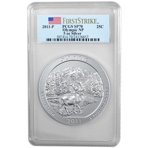 2011 P America The Beautiful Silver 5oz Olympic SP70 FS PCGS