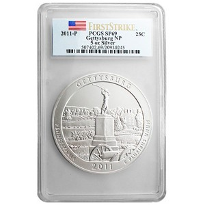 2011 P America The Beautiful Silver 5oz Gettysburg SP69 FS PCGS