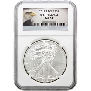 2012 Silver American Eagle MS69 First Releases NGC Blue Label