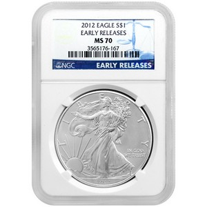 2012 Silver American Eagle MS70 ER NGC Blue Label