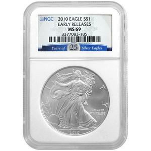 2010 Silver American Eagle MS69 ER NGC 25 Years of Silver Eagles Label