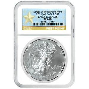 2011 W Silver American Eagle Struck at West Point Mint MS69 ER NGC Star Label