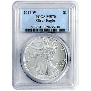 2011 W Silver American Eagle MS70 Burnished PCGS