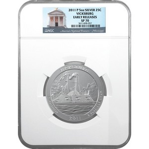 2011 P America the Beautiful Silver 5oz Vicksburg SP70 ER NGC