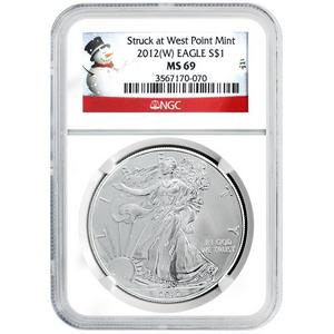 2012 W Silver American Eagle Struck at West Point Mint MS69 NGC Snowman Label