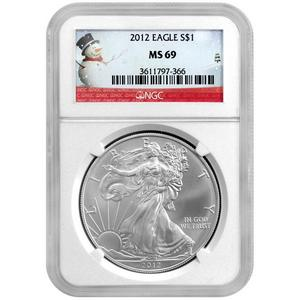 2012 Silver American Eagle MS69 NGC Snowman Label