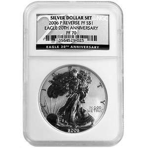 2006 P Silver American Eagle Reverse Proof PF70 NGC 20th Anniversary Label