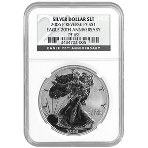 2006 P Silver American Eagle Reverse Proof PF69 NGC 20th Anniversary Label
