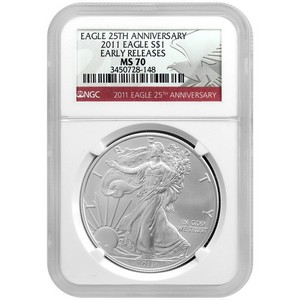 2011 Silver American Eagle 25th Anniversary MS70 ER NGC Red Label