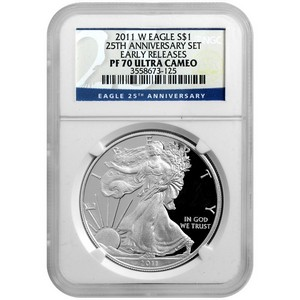 2011 W Silver American Eagle 25th Anniversary Set Label PF70 UC ER NGC