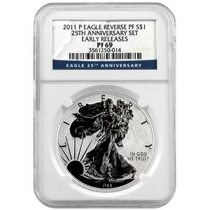 2011 P Silver American Eagle 25th Anniversary Set Label Reverse Proof PF69 ER NGC