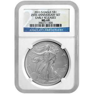 2011 S Silver American Eagle 25th Anniversary Set Label MS69 ER NGC