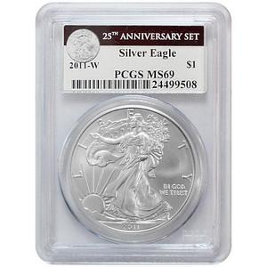 2011 W Silver American Eagle 25th Anniversary Set Label MS69 Burnished PCGS