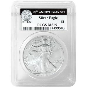 2011 S Silver American Eagle 25th Anniversary Set Label MS69 PCGS