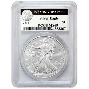 2011 Silver American Eagle 25th Anniversary Set Label MS69 PCGS