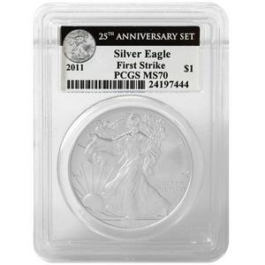 2011 Silver American Eagle 25th Anniversary Set Label MS70 FS PCGS