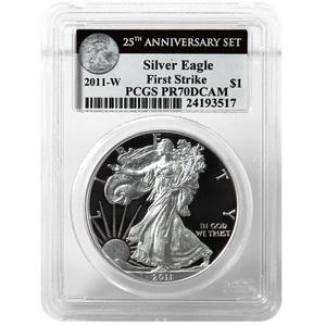 2011 W Silver American Eagle 25th Anniversary Set Label PR70 DCAM FS PCGS