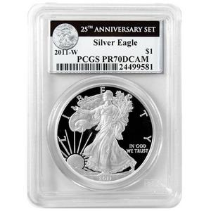 2011 W Silver American Eagle 25th Anniversary Set Label PR70 DCAM PCGS