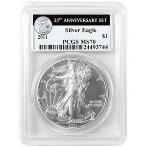2011 Silver American Eagle 25th Anniversary Set Label MS70 PCGS