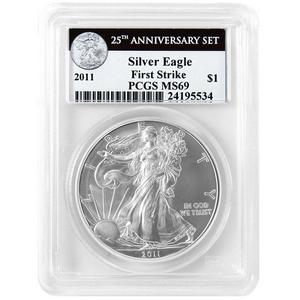 2011 Silver American Eagle 25th Anniversary Set Label MS69 FS PCGS