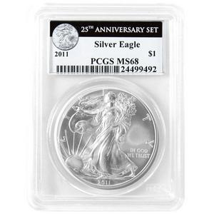 2011 Silver American Eagle 25th Anniversary Set Label MS68 PCGS