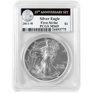 2011 W Silver American Eagle 25th Anniversary Set Label MS69 Burnished FS PCGS