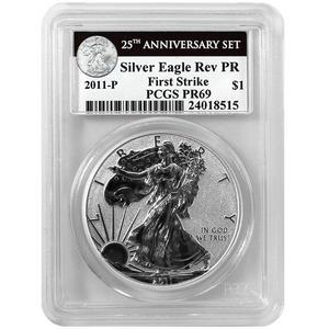 2011 P Silver American Eagle 25th Anniversary Set Label Reverse Proof PR69 FS PCGS