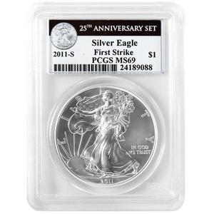2011 S Silver American Eagle 25th Anniversary Set Label MS69 FS PCGS