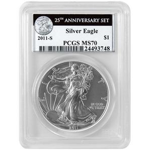 2011 S Silver American Eagle 25th Anniversary Set Label MS70 PCGS