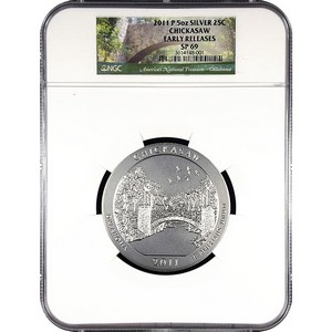2011 P America The Beautiful Silver 5oz Chickasaw SP69 ER NGC